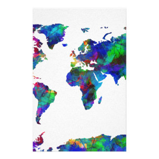 world map watercolor 29 stationery paper