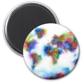 world map watercolor 2 magnet