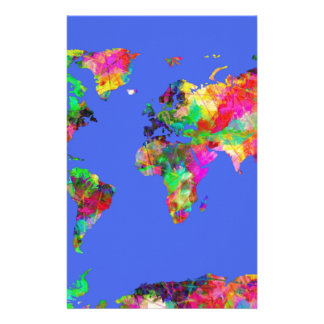 world map watercolor 30 stationery paper