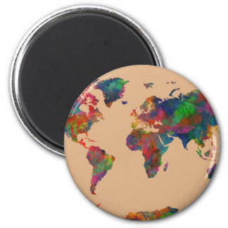 world map watercolor 31 magnet