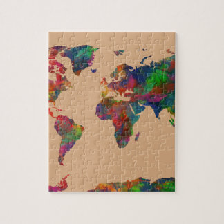 world map watercolor 31 puzzles