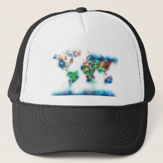world map watercolor 34 trucker hat