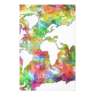 world map watercolor  5 customized stationery