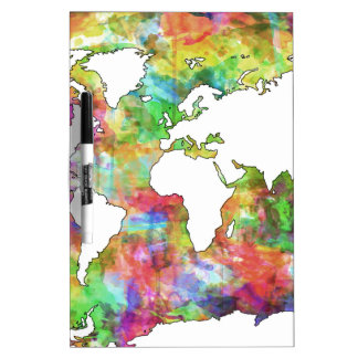 world map watercolor  5 Dry-Erase whiteboard