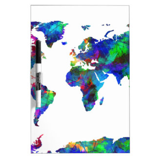 world map watercolor 6 dry erase boards