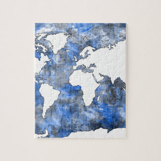 world map watercolor 7 puzzles