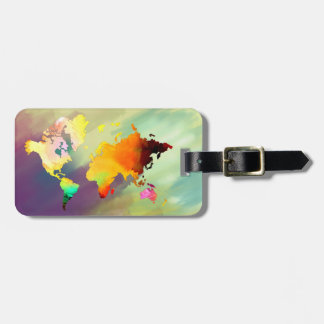 World Map Watercolor Painted Elegant Clean vintage Luggage Tag