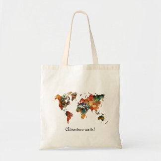 World Map Watercolor Painting ADVENTURE waits Tote Bag