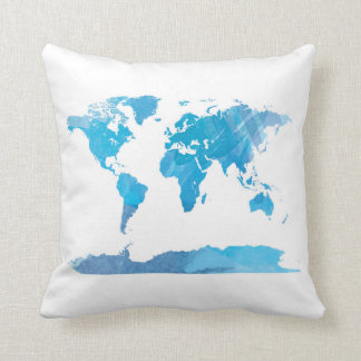 World Map Watercolor Painting Blue Art Throw Pillow