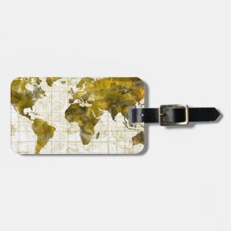 world map watercolor sepia bag tag