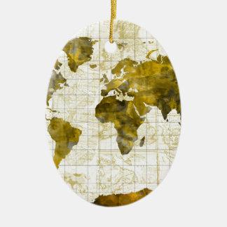 world map watercolor sepia ceramic oval ornament