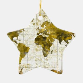 world map watercolor sepia ceramic star ornament