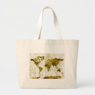 world map watercolor sepia large tote bag