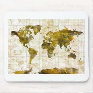 world map watercolor sepia mouse pad