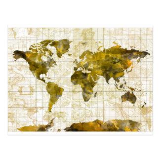 world map watercolor sepia postcard