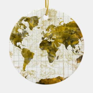 world map watercolor sepia round ceramic ornament