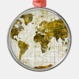 world map watercolor sepia Silver-Colored round ornament