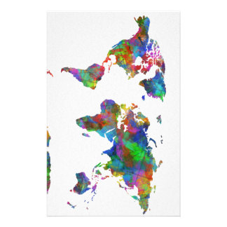 world map watercolor stationery paper