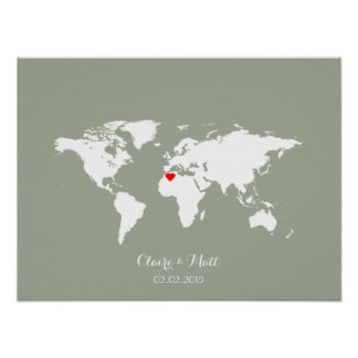 Map posters zazzle canada world map wedding guest book signing board gumiabroncs Images
