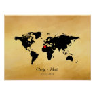 world map wedding guest book signing board
