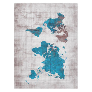 world map white blue tablecloth
