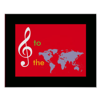 world map with a treble clef poster