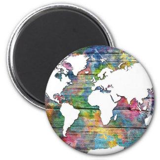world map wood 12 2 inch round magnet