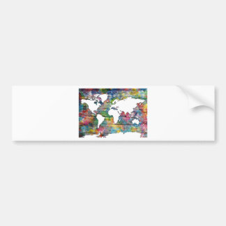 world map wood 12 bumper sticker