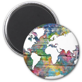 world map wood 12 magnet