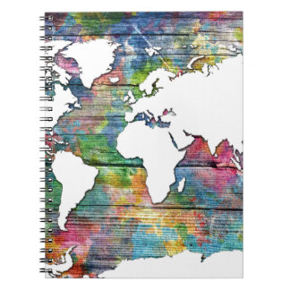 world map wood 12 spiral notebook