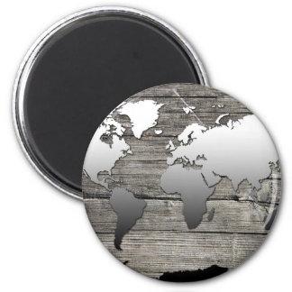 world map wood 13 magnet