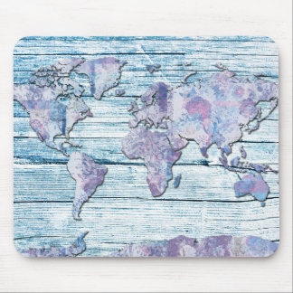 world map wood 14 mouse pad