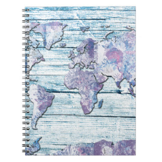 world map wood 14 notebooks