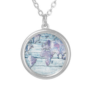 world map wood 14 silver plated necklace