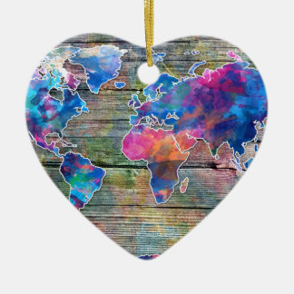 world map wood 1 ceramic ornament