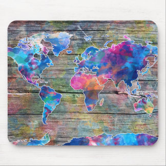 world map wood 1 mouse pad