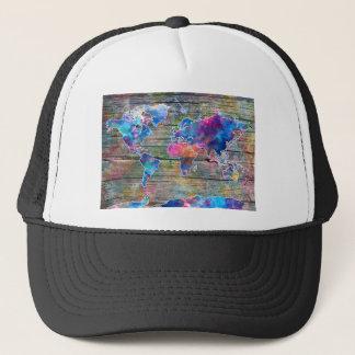 world map wood 1 trucker hat