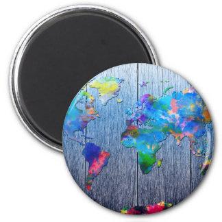 world map wood 2 magnet