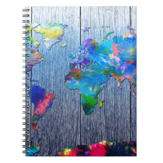 world map wood 2 spiral notebook