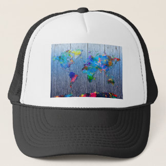 world map wood 2 trucker hat