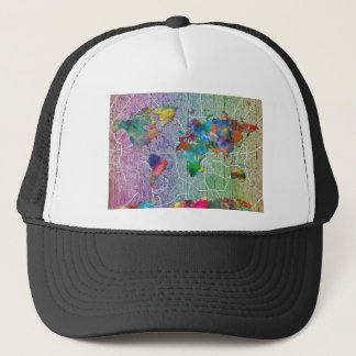 world map wood 4 trucker hat