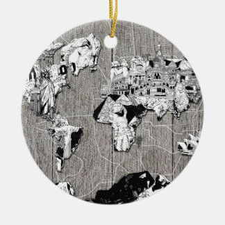 world map wood 5 ceramic ornament