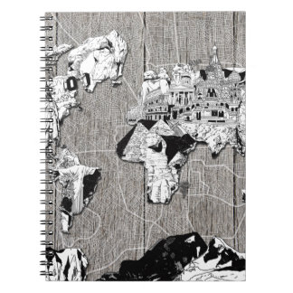world map wood 5 notebooks