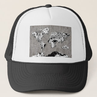 world map wood 5 trucker hat