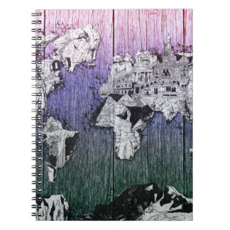 world map wood 6 notebooks