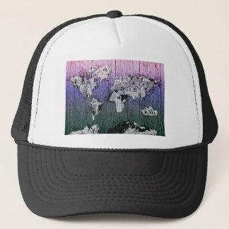 world map wood 6 trucker hat