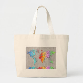world map wood 7 large tote bag