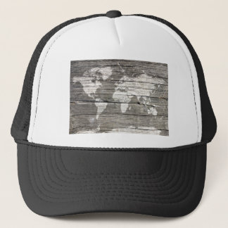 world map wood 8 trucker hat
