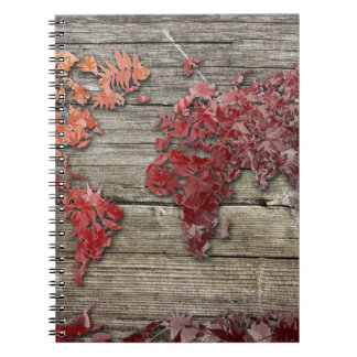 world map wood 9 notebook