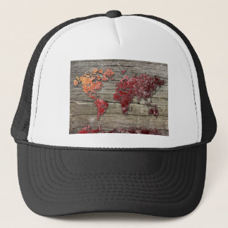 world map wood 9 trucker hat